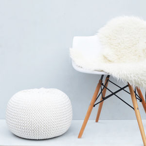 Round Hand Knitted Pearl Pouf - furniture