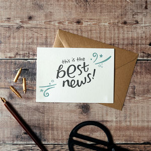 'This Is The Best News' Letterpress Card - shop by category