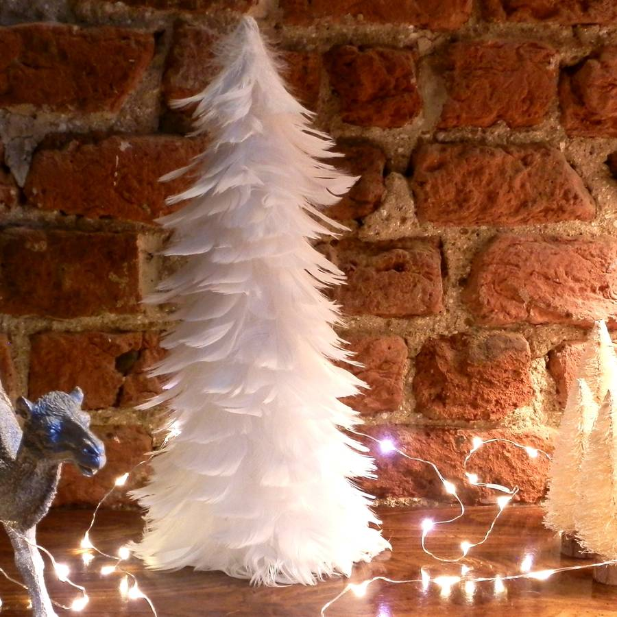 white feather tree table decoration - Feather Christmas Trees
