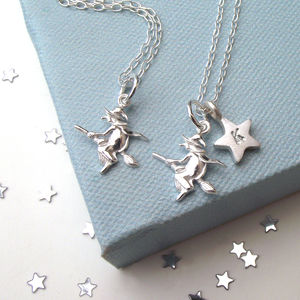 Flying Witch And Initial Star Necklace