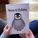 Penguin Happy 1st Birthday Card