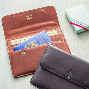Personalised Leather Travel Wallet. 'The Torrino' - passport & travel card holders