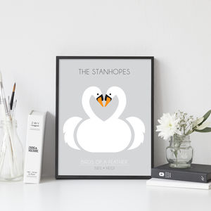 Personalised Wedding Print With Swans