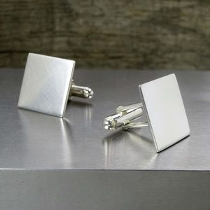 Matt Finish Hidden Message Silver Cufflinks - cufflinks
