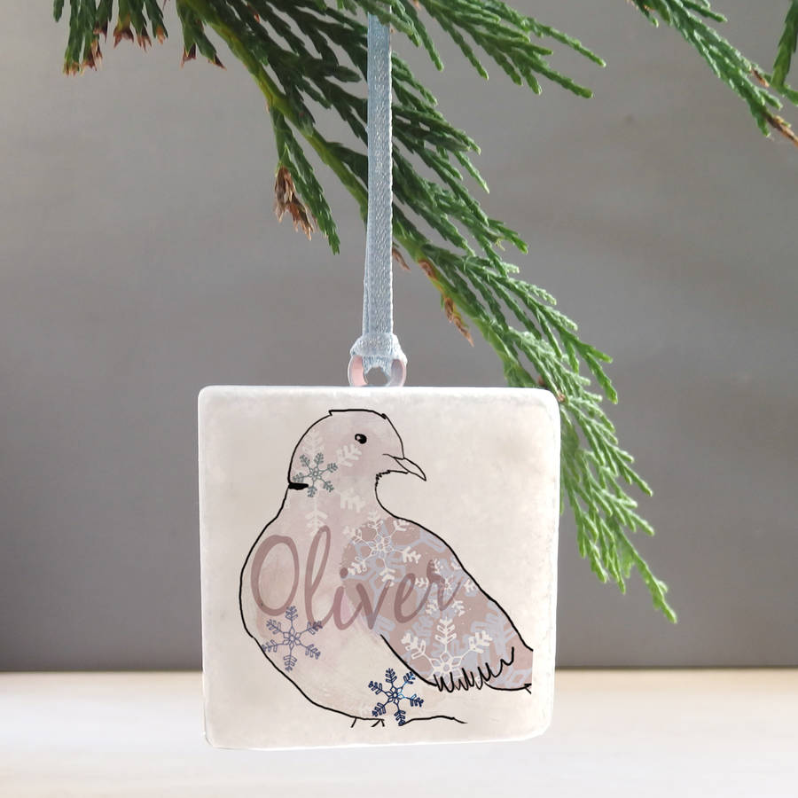 Personalised Christmas Dove Tree Decoration