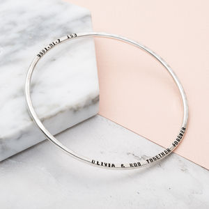 Personalised Message Bangle - wedding fashion