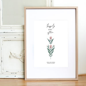 Personalised Wedding Happily Ever After Print - 1st anniversary: paper