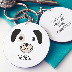Personalised Cute Dog Message Keyring