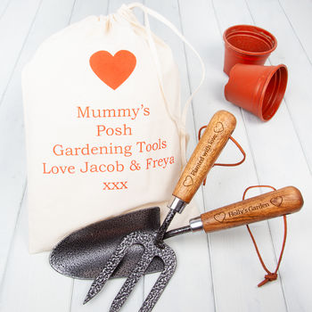 Heart Trowel And Fork Personalised Garden Tools Set