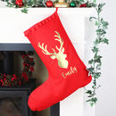 Personalised Reindeer Christmas Stocking With Name