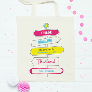 Personalised Holiday Signpost Bag - shopper bags