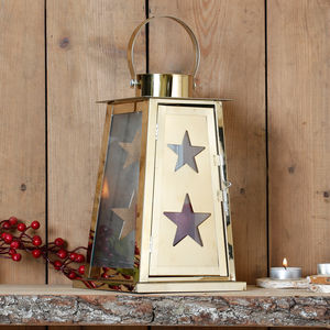 Shining Christmas Star Lantern With Glass Panels