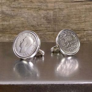 Hallmarked Silver Lucky Sixpence Cufflinks - gifts for him