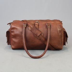 Vintage Style Brown Leather Bowling Bag