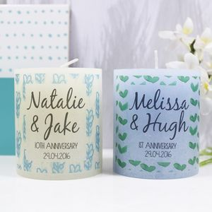 Personalised Anniversary Patterned Coloured Candle - 1st anniversary: paper