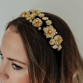 Black And Gold Embellished Florence Headband