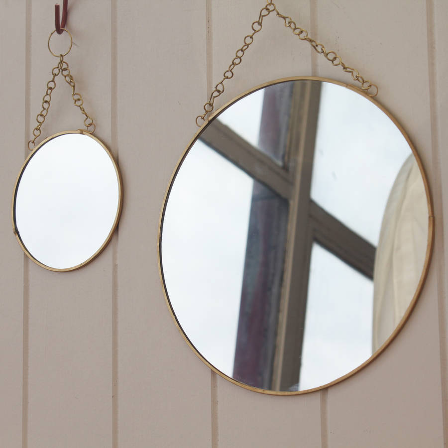 brass circular mirror with chain. brass circular mirror with chain by posh totty designs interiors
