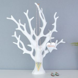 Personalised Necklace Stand White Coral Jewellery Tree - bedroom