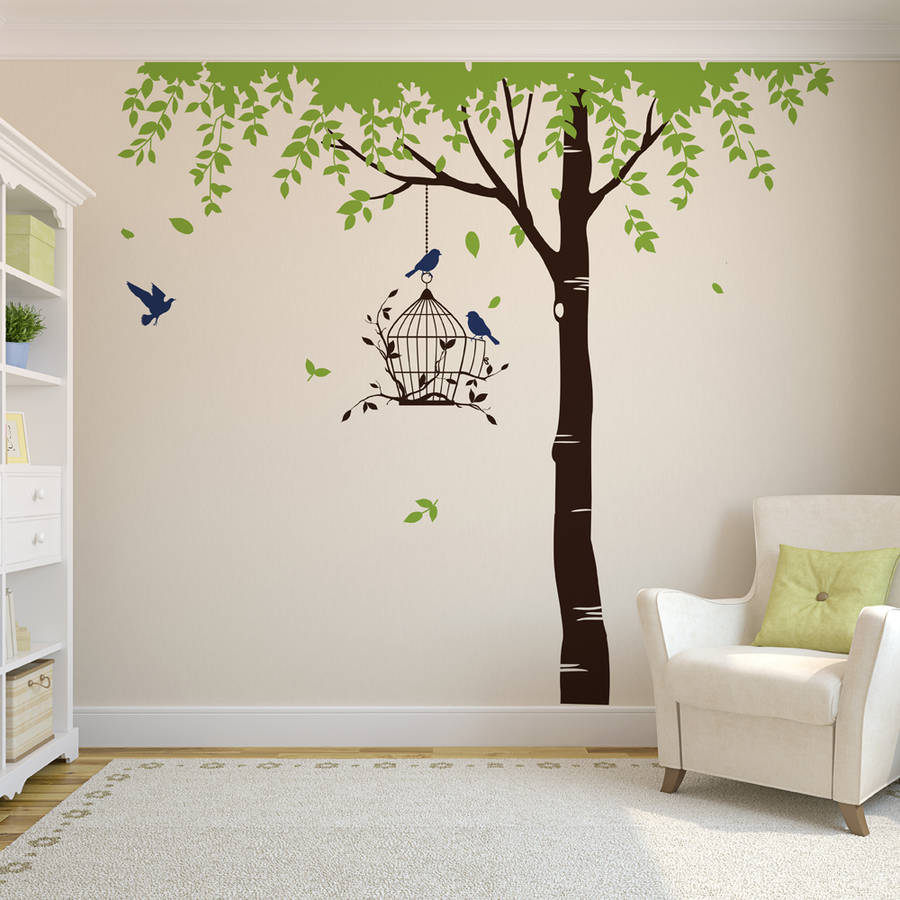 Elegant Summer Tree With Bird Cage Wall Stickers