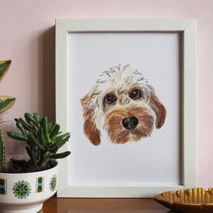 Hand Painted Personalised Custom Dog Portrait