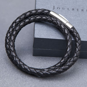 Black Plaited Mens Wrap Bracelet