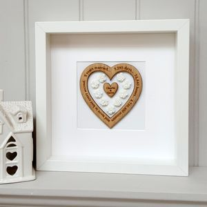 20th Anniversary Personalised China And Oak Heart