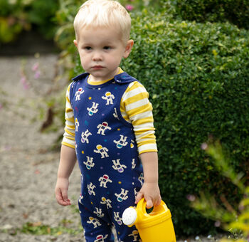 Unisex Navy Blue Astronaut Baby Dungarees