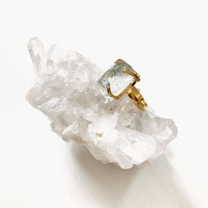 Raw Cut Glacier Gemstone Ring