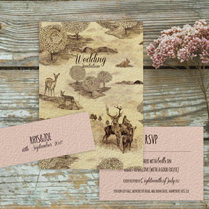 Vintage Stag And Deer Countryside Wedding Invitation - invitations