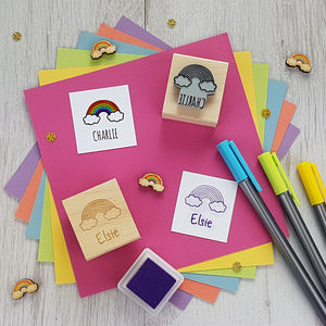 Rainbow Personalised Rubber Stamp - shop by category