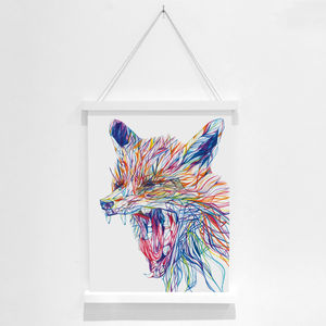 Yawning Fox Pencil Illustration Fine Art Print
