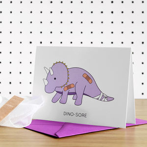 Dino Sore Dinosaur Get Well Soon Greeting Card - get well soon cards