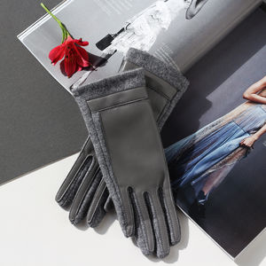 Merino Wool Gloves With Faux Leather Finish - hats, scarves & gloves