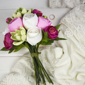 A Posy Of Paper Roses And Faux Ranunculus - new in wedding styling