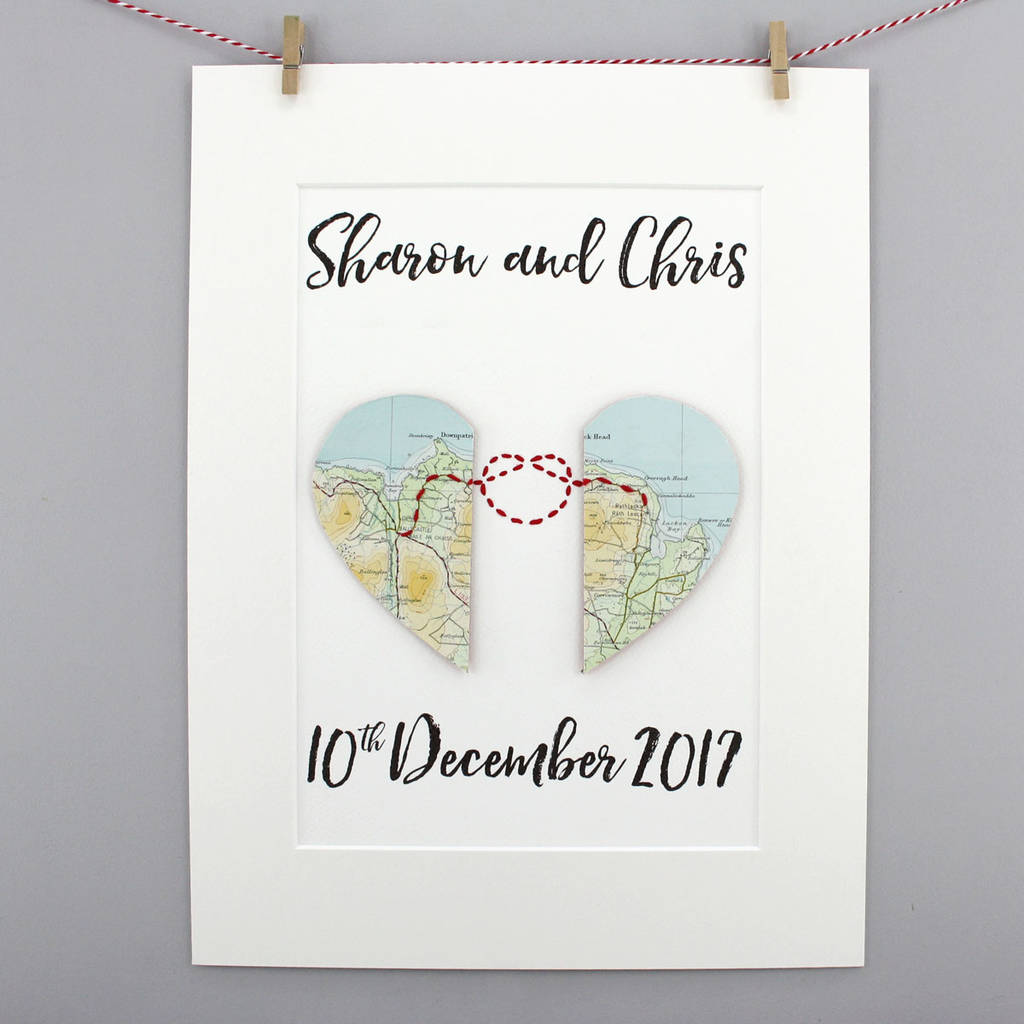 Personalised Love Knot Map Heart Wedding Gift