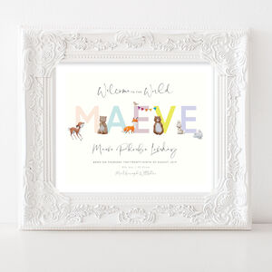 Personalised Watercolour Woodland Baby Print