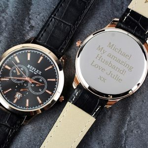 Men's Rose Gold Tone Engraved Watch - watches