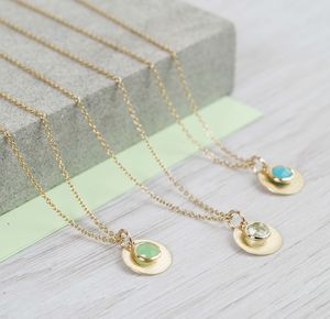 Personalised Solid Gold And Birthstone Necklace - necklaces & pendants