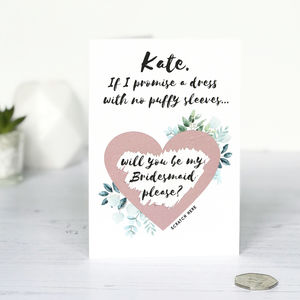 Rose Gold Bridesmaid Proposal Scratch Card