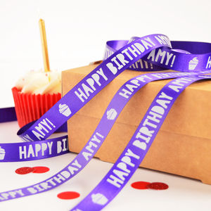 Birthday 15mm Personalised Printed Ribbon - interests & hobbies