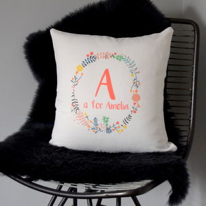 Personalised Kids Floral Wreath Initial Cushion - bedroom