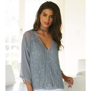Charlie Joe Mayamia Light Grey Silk And Sequin Blouse - blouses & shirts