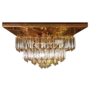 Italian Glass Prism And Gold Plafonnier Chandelier - ceiling lights