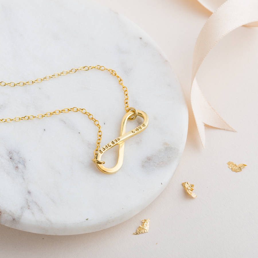 Personalised infinity necklace by posh totty designs personalised infinity necklace in 9ct yellow gold plate on a standard trace chain aloadofball Gallery