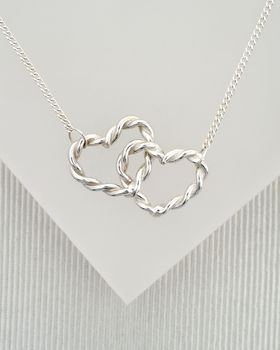Silver Double Twist Love Heart Necklace