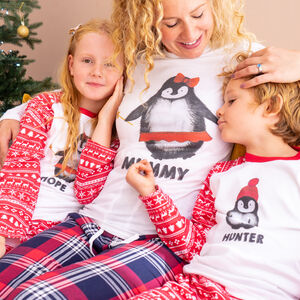 Personalised Penguin Family Christmas Pyjamas