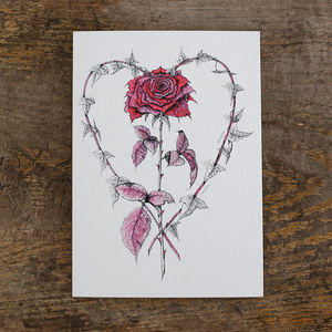 Cerise Rose And Ivy Heart Greetings Card