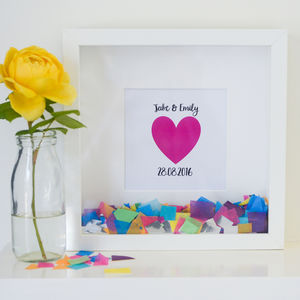 Personalised 'Happy Heart' Confetti Frame - prints & art