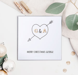 Christmas Personalised Initial Heart Card
