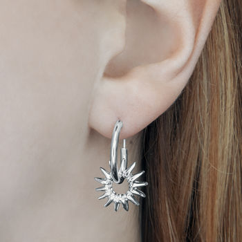 Sterling Silver Sunburst Hoop Earrings